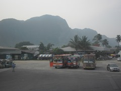 The bus station in Phang Nga Town, Thailand.