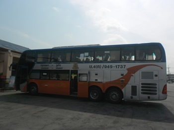 Thai Government second-class bus at a reststop somewhere outside of Chumpon, Thailand.