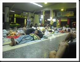 Sleeping with the masses and the rats at Hualamphong Station, Bangkok.