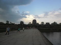 Walking along the causeway towards the western gate of Angkor Wat.  Everything here is on a grand scale!