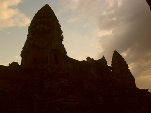 Two of the towers of Angkor Wat, 5:43 PM 12 April 2013