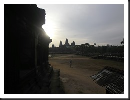 """Angkor Wat, as viewed from the northern """"library"""", 6:45 am 13 April 2013."""