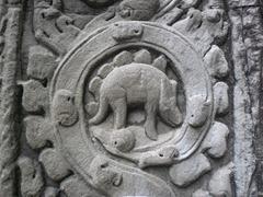 'Dinosaur' carving at Ta Prohm