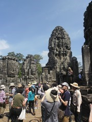 Crowds on the upper terrace of The Bayon.