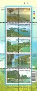 Thailand Tourism definitives mini-sheet issued 5 July 2012