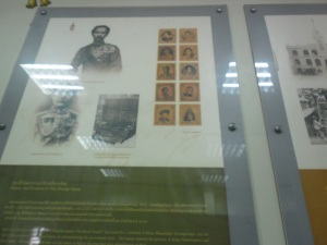 Royal Family Post stamps - a display at Phuket Philatelic Museum