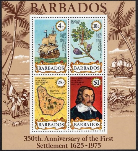 Miniature sheet issued in December 1975 marking the 350th anniversary of British landing at Barbados (Scott #431a)