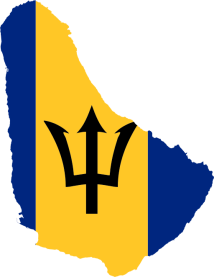 Flag, map of Barbados