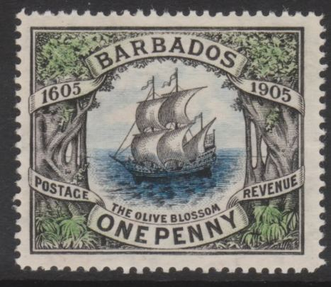 Barbados #109 'The Orange Blossom' 1p black, green & blue, issued 1906-08-15 Mint USD 12.50