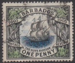 Barbados #109 'The Orange Blossom' 1p black, green & blue, issued 1906-08-15 Used USD 0.30