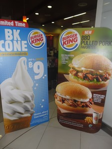 Two types of BBQ pulled pork sandwiches now at Burger King in Phuket