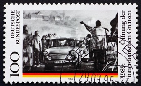 11455561-germany--circa-1995-a-stamp-printed-in-the-germany-shows-opening-of-the-berlin-wall-5th-anniversary-