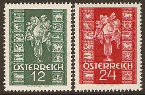 1937 - Austria (Sc824-825) Christmas