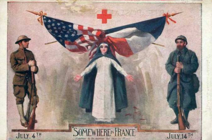 Red Cross postcard, circa 1918 promoting American and French Independence Days
