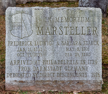 """In Memorium Marsteller Frederick Ludwig, Jan 11, 1702, Oct 15, 1753 and A. Barbara Starck, May 8, 1701, Feb 23, 1780. Arrived at Philadelphia in 1729 from Darmstadt Germany"""