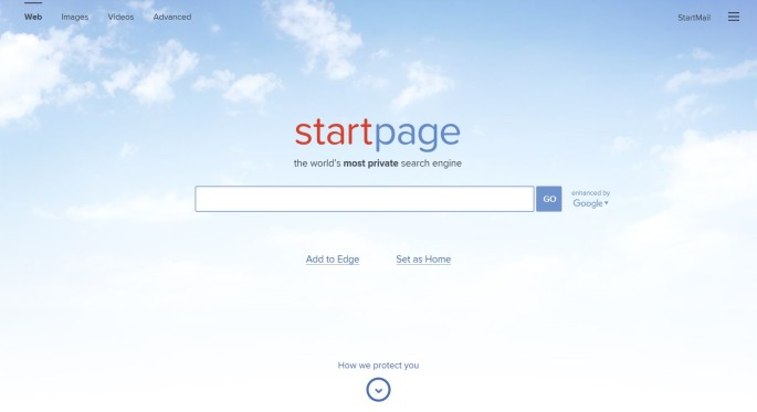 StartPage.com search engine homepage