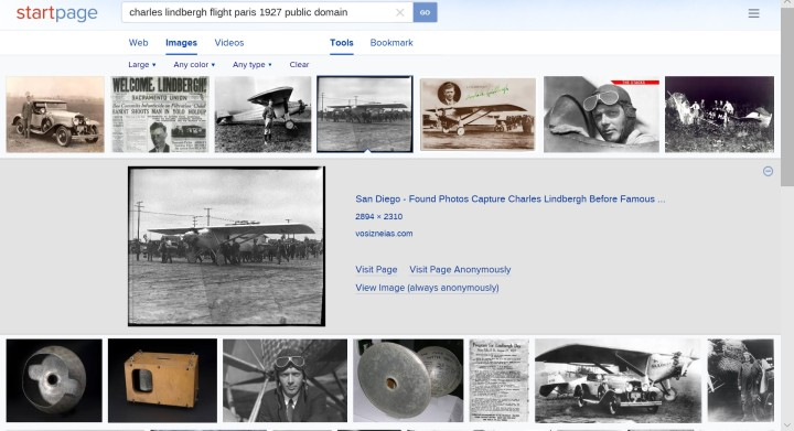 """StartPage.com search engine sample search results """"Charles Lindbergh"""""""